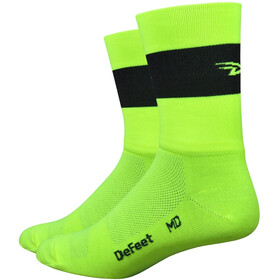 "DeFeet Aireator 5"" Double Layer Socks, team defeet hi-vis yellow w/black stripe"